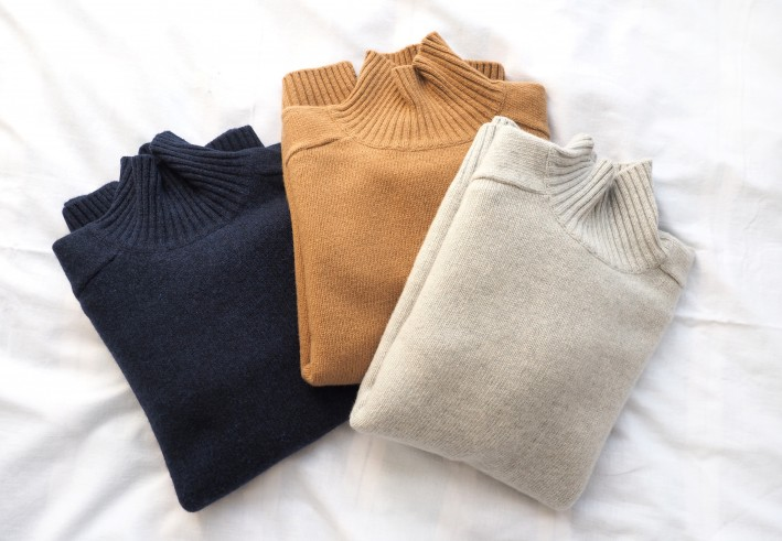 soft cashmere turtle knit