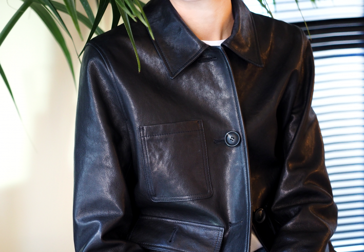 button lambskin leather jacket