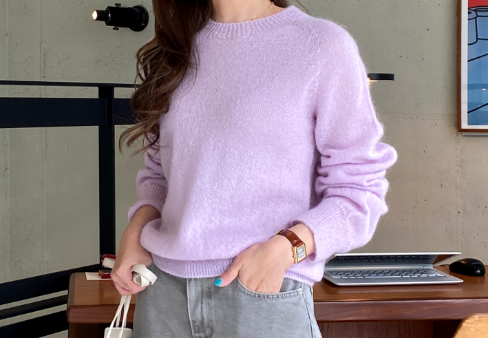 wholegarment pastel kid mohair knit