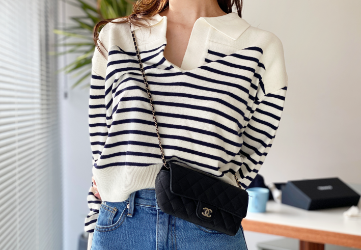 spring striped collar knit