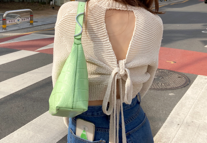 strap backless knit