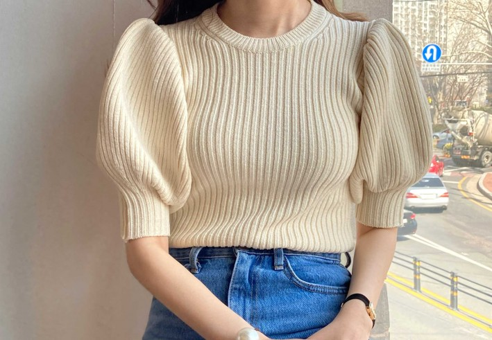slim puff silk knit
