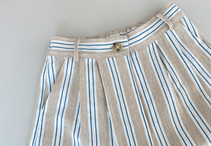 airing made, striped wide linen pants